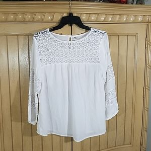 Old Navy White Peasant Blouse, sz Medium